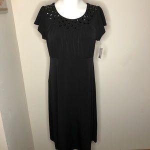 Apt. 9 Classic Black Midi Dress Embellished Neck